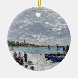 Ornement Rond En Céramique Claude Monet | la plage chez Sainte-Adresse
