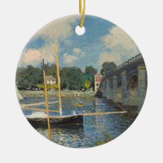 Ornement Rond En Céramique Claude Monet   le pont à Argenteuil
