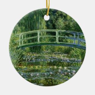 Ornement Rond En Céramique Claude Monet - pont japonais
