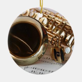 Ornement Rond En Céramique Clés de Notenblatt de lustre d'or de musique de
