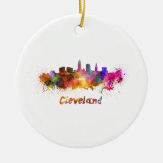 Ornement Rond En Céramique Cleveland skyline in watercolor