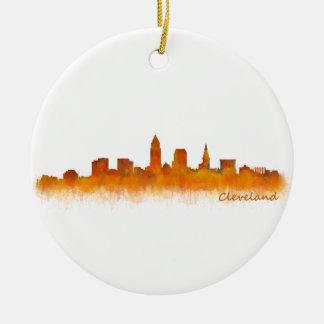 Ornement Rond En Céramique Cleveland ville US skyline watercolor
