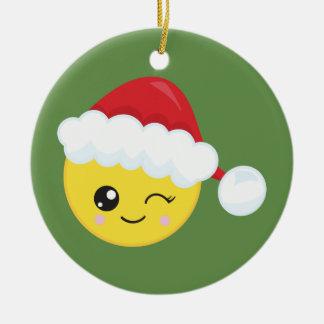 Ornement Rond En Céramique Cligner de l'oeil l'ornement de Noël de Père Noël