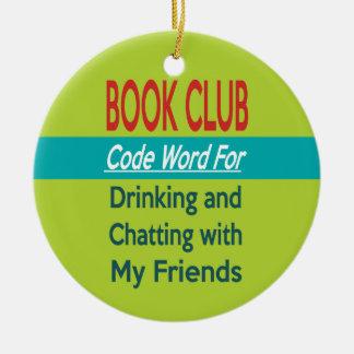 Ornement Rond En Céramique Club de lecture - codez le mot