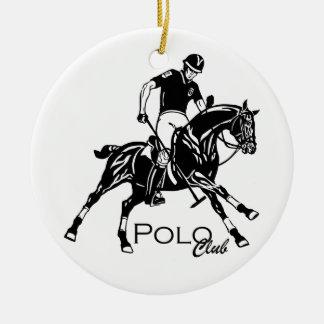 Ornement Rond En Céramique club de sport équestre de polo