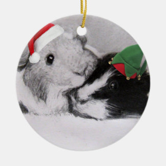 Ornement Rond En Céramique Cobaye de Peegs de Noël