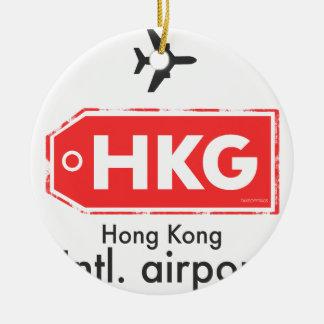 Ornement Rond En Céramique Code d'aéroport de Hong Kong HKG