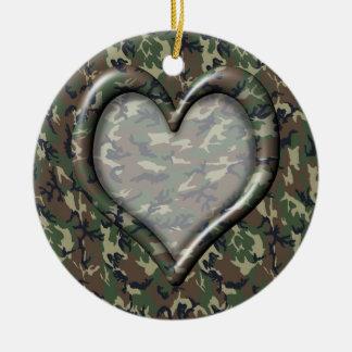 Ornement Rond En Céramique Coeur de camouflage