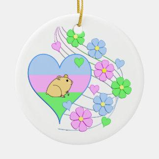Ornement Rond En Céramique Coeur de hamster d'amusement