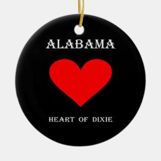 Ornement Rond En Céramique Coeur de l'Alabama de Dixie
