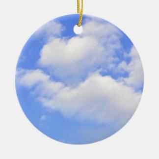 Ornement Rond En Céramique Coeur d'ornement de nuages