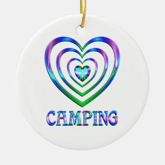 Ornement Rond En Céramique Coeurs de camping