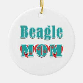 Ornement Rond En Céramique Coeurs de pattes de chien de maman de beagle