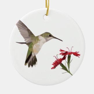 Ornement Rond En Céramique Colibri et fleur