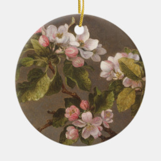 Ornement Rond En Céramique Colibri et fleurs d'Apple