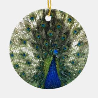 Ornement Rond En Céramique Collectection mosaîque - Parade amoureuse du Paon
