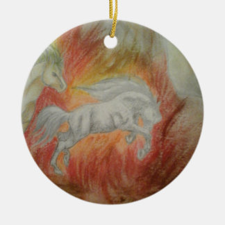 Ornement Rond En Céramique Collection ''Horses and Fire''