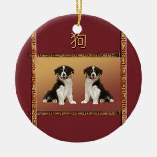 Ornement Rond En Céramique Colleys de frontière année chinoise de conception