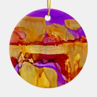 Ornement Rond En Céramique Collines d'or au crépuscule