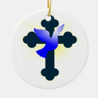 Ornement Rond En Céramique Colombe et croix