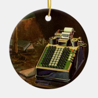Ornement Rond En Céramique Comptable vintage d'affaires, machine à