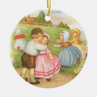 Ornement Rond En Céramique Comptine vintage d'oie de mère de Georgie Porgie