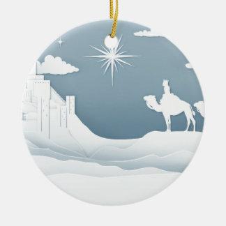 Ornement Rond En Céramique Concept de Noël de nativité de sages