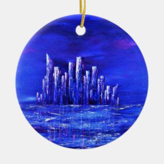 Ornement Rond En Céramique Conception bleue urbaine de Jane Howarth