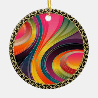 Ornement Rond En Céramique Conception colorée d'arc-en-ciel en spirale