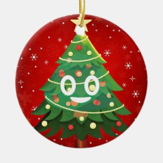 Ornement Rond En Céramique Conception d'arbre de Noël d'Emoji