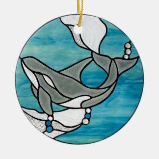 Ornement Rond En Céramique Conception d'art en verre souillé de baleine