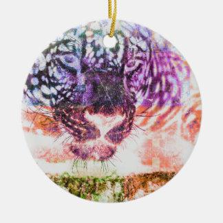 Ornement Rond En Céramique Conception de chat de Jaguar d'arc-en-ciel
