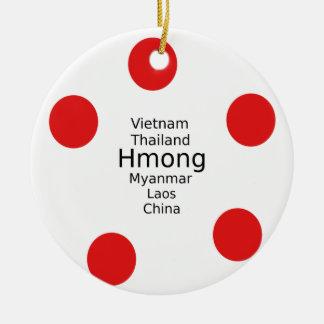 Ornement Rond En Céramique Conception de langue de Hmong (inclut des pays)
