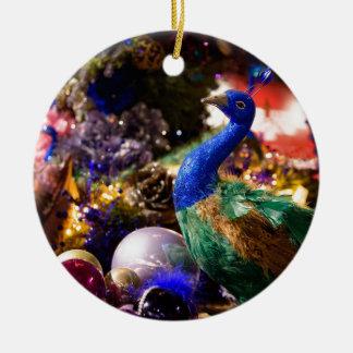 Ornement Rond En Céramique Conception de Noël de paon