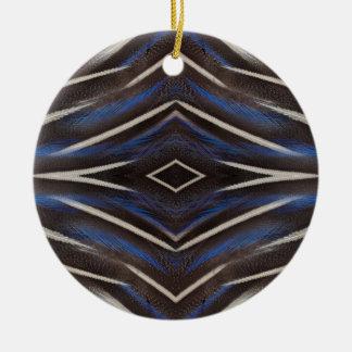 Ornement Rond En Céramique Conception de plume de pintade de diamant