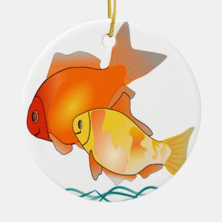 Ornement Rond En Céramique Conception d'impression d'amis de poisson rouge