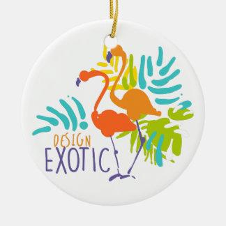 Ornement Rond En Céramique Conception exotique de logo avec des oiseaux de