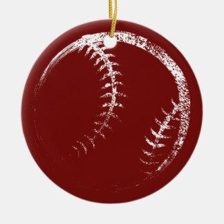 Ornement Rond En Céramique Conception grunge de base-ball ou de base-ball de