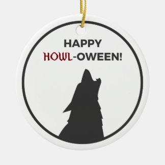 Ornement Rond En Céramique Conception heureuse de Halloween de loup-garou