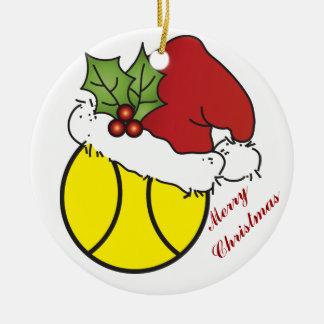 Ornement Rond En Céramique Conception mignonne de tennis de Noël