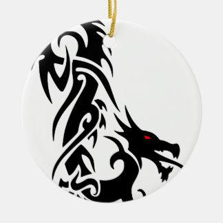 Ornement Rond En Céramique Conception noire de tatouage de dragon