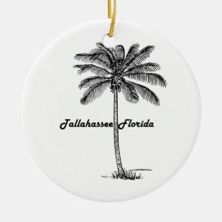 Ornement Rond En Céramique Conception noire et blanche de Tallahassee et de