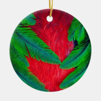 Ornement Rond En Céramique Conception resplendissante de plume de quetzal
