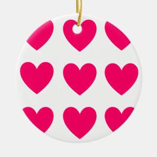 Ornement Rond En Céramique Conception rose de coeur