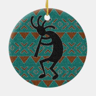 Ornement Rond En Céramique Conception tribale de Kokopelli de turquoise de