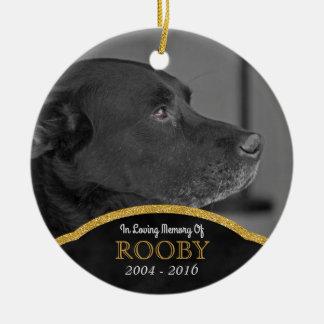 Ornement Rond En Céramique Condoléance de chien personnalisée par photo