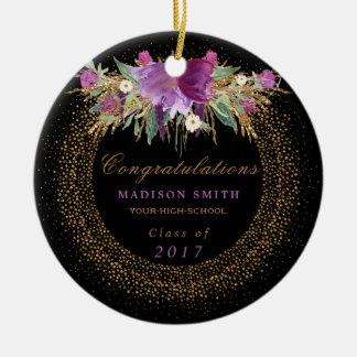 Ornement Rond En Céramique Confettis d'or de fleur de scintillement