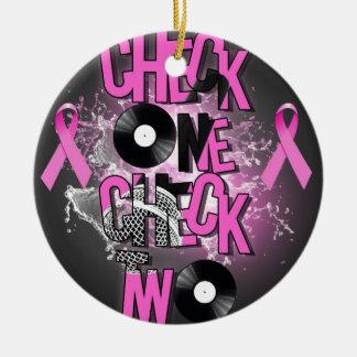 Ornement Rond En Céramique Conscience de cancer du sein