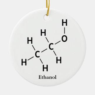 Ornement Rond En Céramique Cool de chimie de molécule d'alcool d'éthanol