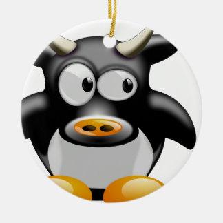 Ornement Rond En Céramique Cool vache